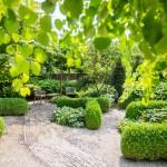 Achtertuin wintergroene structuren privacy natuurlijk groene glooiingen