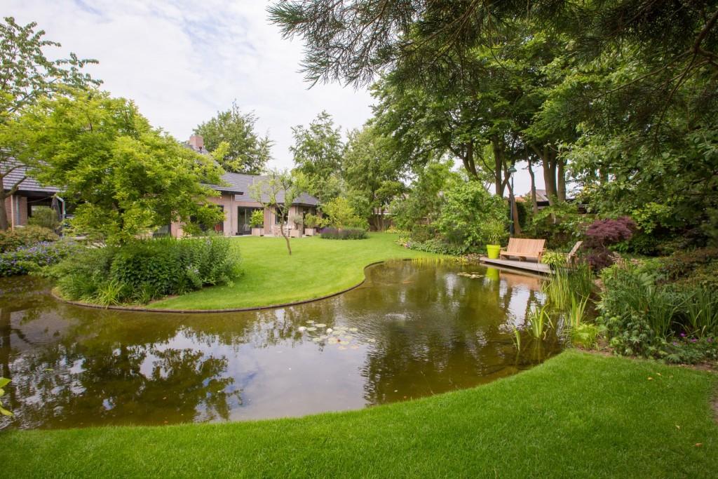 tuin met grote natuurlijke vijver en bloeirijke vaste